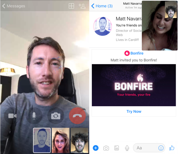 Facebook tests Bonfire group video chat as app and in Messenger